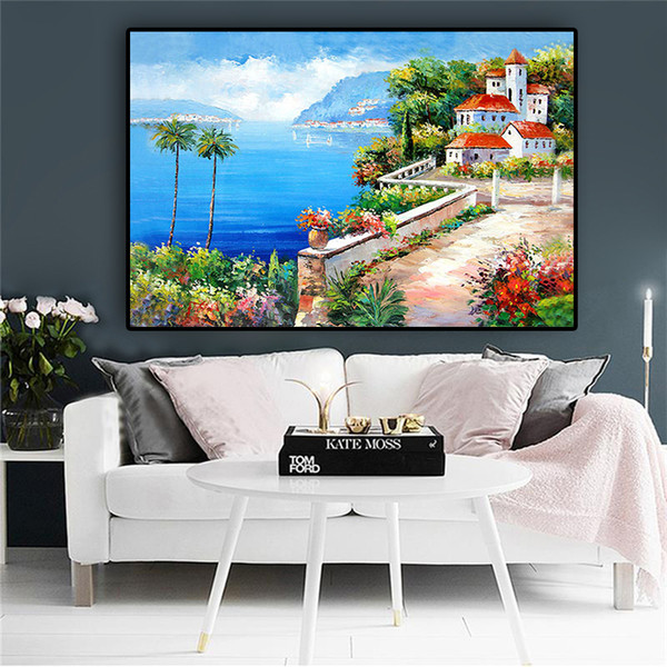 Mediterranean Sea Garden Tower Green Plant Landscape Oil Painting on Canvas Art Posters and Prints Wall Picture for Living Room