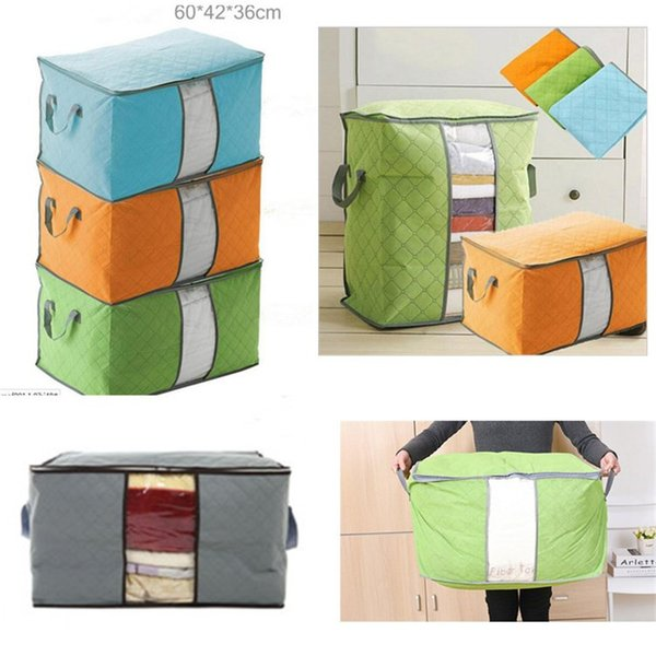 Portable Non Woven Quilt Storage Bag Clothing Blanket Pillow Underbed Bedding Big Organizer Bags House Room Storage Boxes buggy bags 4Color