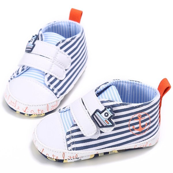 Fashion Toddler Baby Boy Shoes Kids Canvas Casual Stripe Soft Lace Up Kids Anti-skid First Walkers Shoes