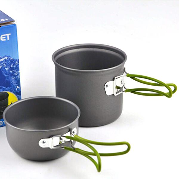 2pcs/set Portable aluminum camping pot sets Pot Pan Bowl cookware mini Outdoor Hiking Cooking Set Free shipping