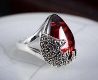 Free Shippinglatest design man/woman Red Crystall Stone Gems 925 Sterling Silver Ring Size 6/7/8/9/10
