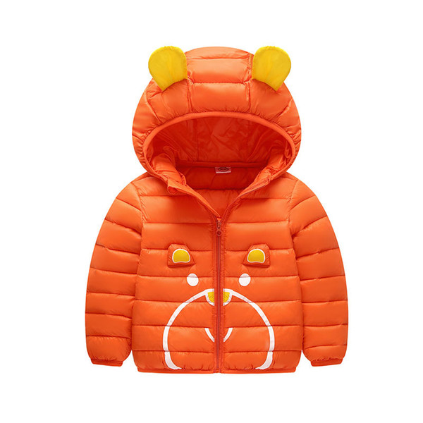 New Design Cartoon Style Cute Baby Boys and Girl's Long Sleeve Hooded Solid Color Winter Coats Down Parkas