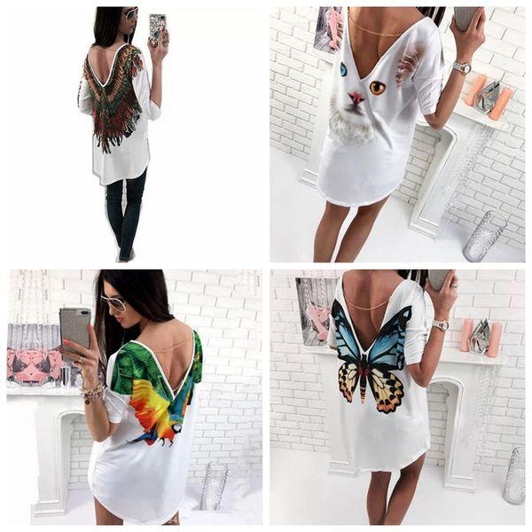 Wommen short T shirts Print Sexy Casual Open Back Deep V T Shirts Short Sleeve summer short sleeve butterfly animal print female LJJG21