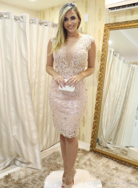 Cheap Sheath Cocktail Dress Lace Knee Length Semi Club Wear Homecoming Graduation Party Gown Plus Size Custom Made