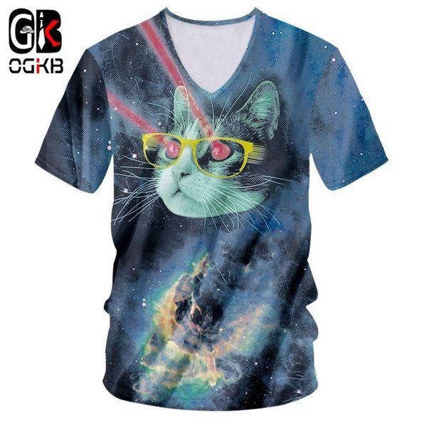 Camiseta OGKB 2018 New Star cat ray V Nick Neck camiseta Funny Purple Galaxy Space impresión 3D Autumn cat Camiseta manga corta masculina
