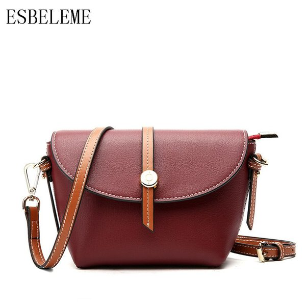 Luxury Ladies Casual Shell Bags for Women Genuine Leather Shoulder Bags Burgundy Black Red Brown Female Mini Crossbody Bag YG284
