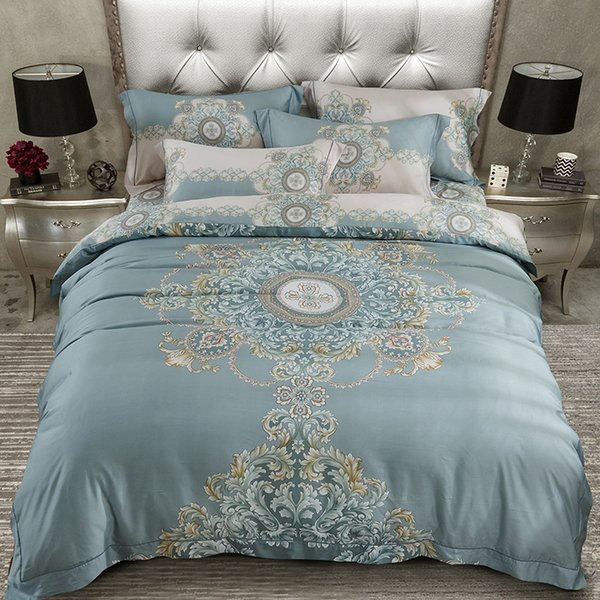 Luxury 80S Tencel silk Bohemia Bedding set Queen King size Bed cover set Boho Duvet/Quilt cover Summer Soft Bed sheet set