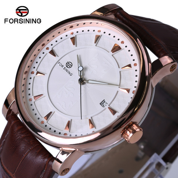 Forsining Watches Classic Mens AUTO Date automatic Mechanical Watch Self-Winding Analog Skeleton Brown Leather Man Wristwatch