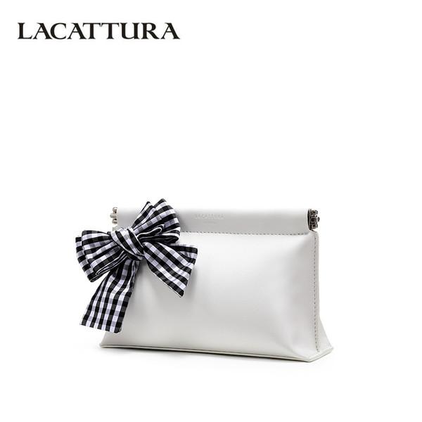 LACATTURA Cartera con diseño de embrague de lazo en blanco y negro para mujer Bolsas con solapa Lady Small Bag Monedero de alta capacidad en blanco
