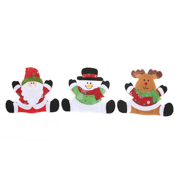 Christmas Table Set Bag Place Mat Knives and Forks Cover Santa Claus Snowman Deer Xmas Decor Ornaments Festival Decorations Non-woven Fabric