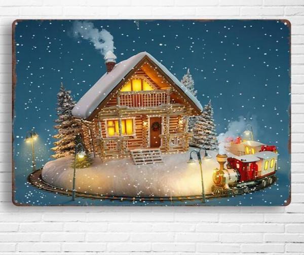 Acheter New Christmas Vintage Métal étain Signes Pour Mur Décor De Noël Mur Art Fer Peintures Métal Signes Tin Plate Pub Bar Garage Décoration De La