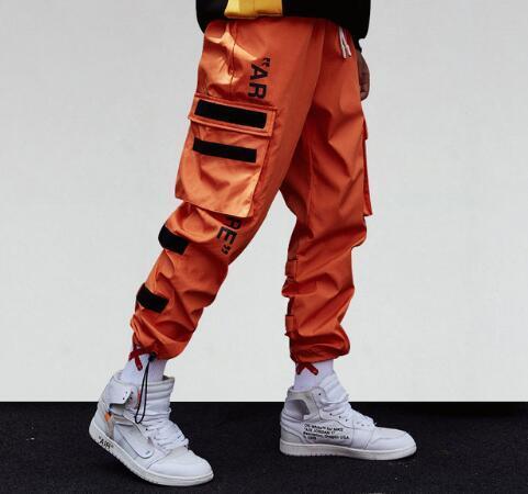 Bolsillos laterales de los hombres Pantalones Harem 2018 Hip Hop Casual Hombre Tatical Joggers Pantalones Moda Casual Pantalones Streetwear