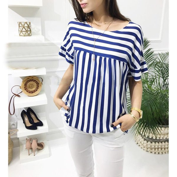 Retro Striped Summer blouses Shirts for women Vintage 3 colors O-Neck casual Office lady work Ladies Shirts Blusas WS9097Y