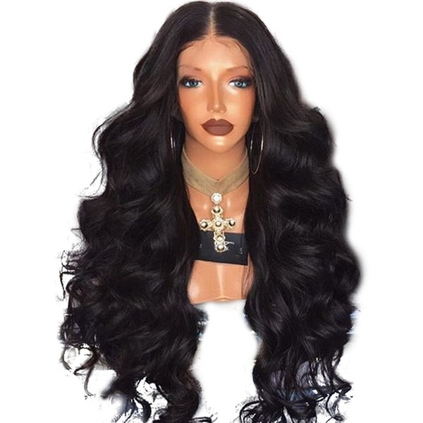 Fashion High Temperature Fiber Hair Natural Hairline Glueless Long Body Wave 1B Black Synthetic Lace Front Wig with Middle Part