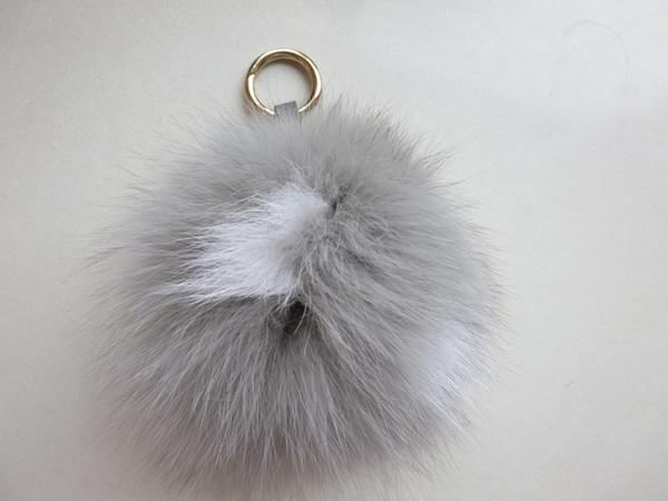 Fashion real fox fur Key chain Fur Pompom key ring charm Women Bag pendant/ colorful