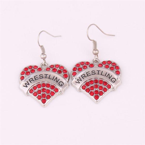 Sporty Feeling Female Earrings WRESTLING Written Heart Shape Beautiful Crystals High Grade Zinc Alloy Provide Dropshipping
