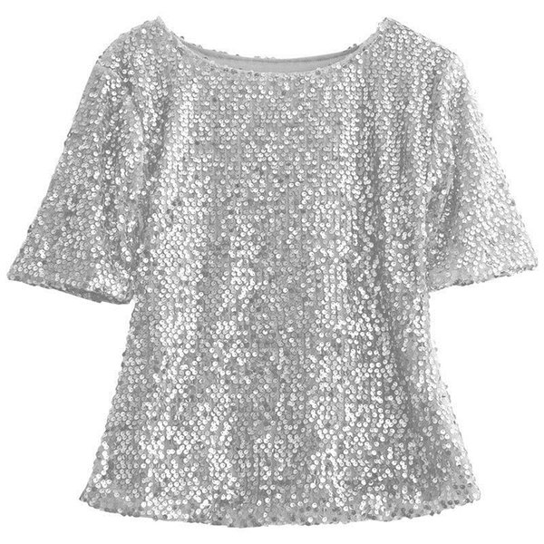 Fashion High Street LadiesClothes Short Sleeve Round Neck Glistening Sequin Blouse Slim Shirts Unique Design Solid Tops Blouses Y1891109