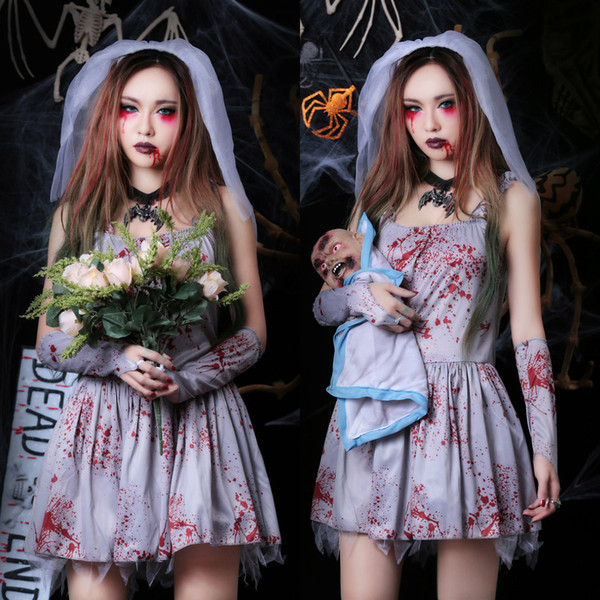 2018 New Arrival Halloween Costumes For Adults Vampire Bride Short Spaghetti Printed Blood Ployester Party Dress With Gloves + Veil In Stock