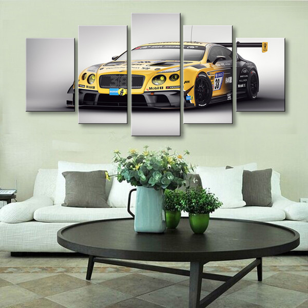 5 pieces high-definition print Sports car canvas oil painting poster and wall art living room picture C5-050