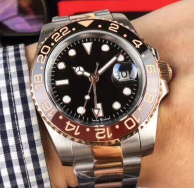 New Rose gold GMT2 Listed V3 Version Batman mens watch automatic movement Ceramic Rotating Bezel sapphire glass steel strap wristwatch 265