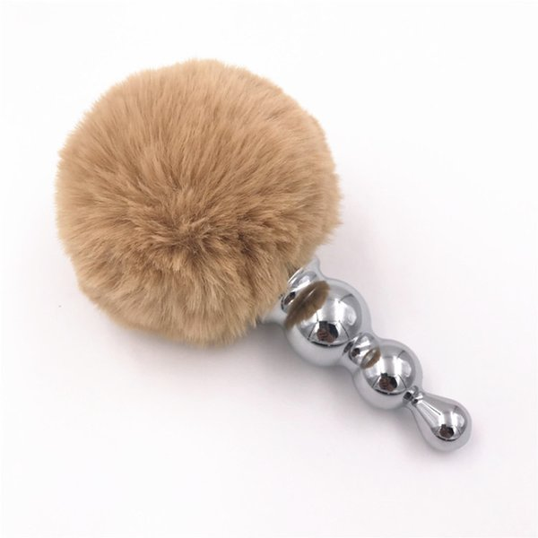 Anal Plug Big Rabbit Tail Anal Beads Stainless Steel Butt Plug Gray Plush Tail Ball Anal Dilator Sex Toys for Women Gift H8-1-62F
