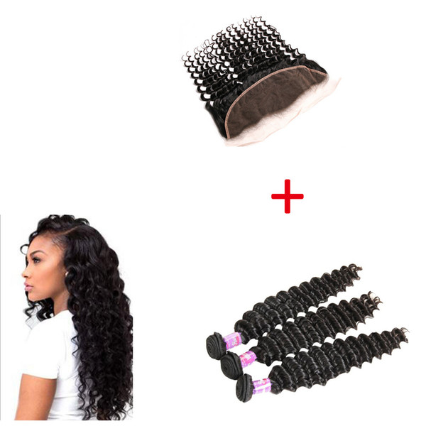 3 Bundles Deep Wave Wefts with 13x4 Lace Frontal 100% Human Hair 6A Brazilian Hair Weaves