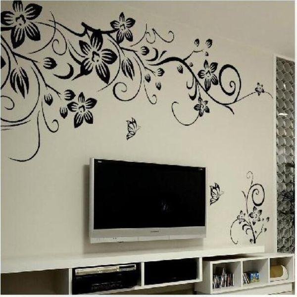 Hot DIY Wall Art Decal Decoration Fashion Romantic Flower Wall Sticker/ Wall Stickers Home TV Decor Wallpaper