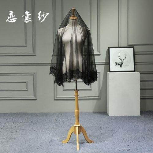 Vestido de festa Halloween Lacefor nupcial do casamento do laço curto Vintage Tulle Black Veil Noiva Acessórios de cabelo preto do casamento do cabelo da cabeça