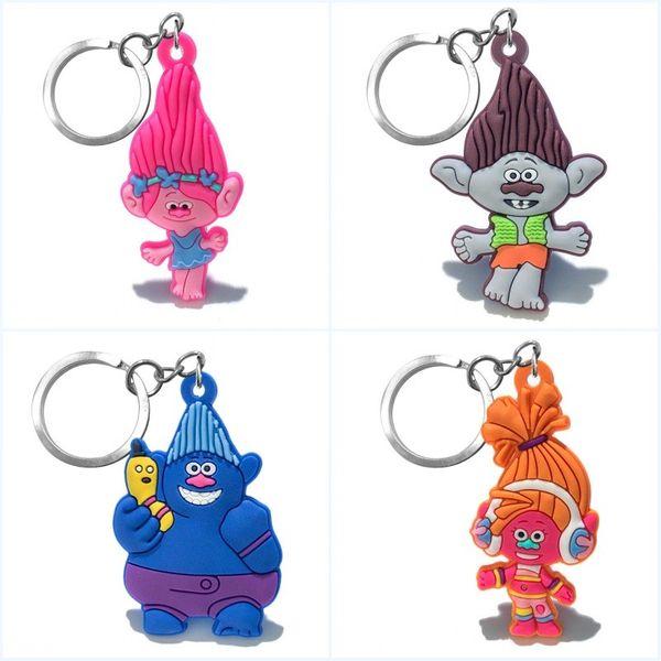 Nuovo arrivo troll papavero personaggio dei cartoni animati bella portachiavi alta qualità portachiavi ciondolo catena chiave in pvc accessori per bambini giocattolo regalo