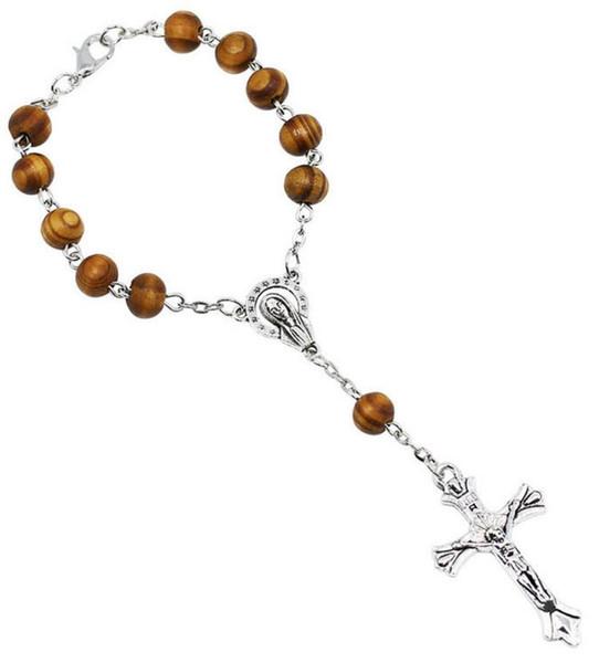 8MM Wooden Bead Catholic Rosary Bracelet Women Religious Christianity Virgin Mary Jesus Cross Crucifix Bracelet drop shipping
