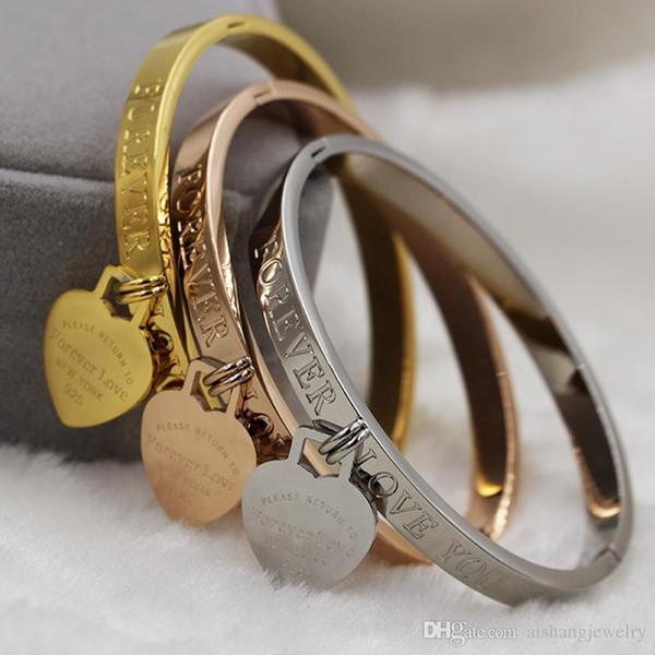 2018 mulheres da moda jóias pulseira com pingente de coração e 18 K banhado a ouro titanium bangle esculpida para sempre palavra de amor para as mulheres presente