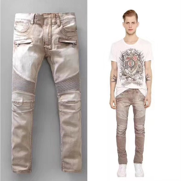 BALMAIN étirement léger des hommes de mode jeans denim biker mâle poches beige jaune clair pantalon cargo pantalon long