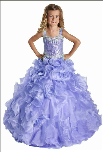 Hot Selling Fashion Spaghetti strap Paillette Beading All sorts of color Hand made Flower Ball Gown Organza flower girl Birthday party