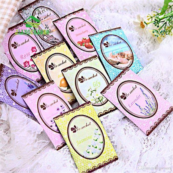 Wholesale- 10 Pcs/Lot Lovely 6 Taste Fresh Air Scented Fragrance Home Wardrobe Drawer Car Perfume Sachet Bag New