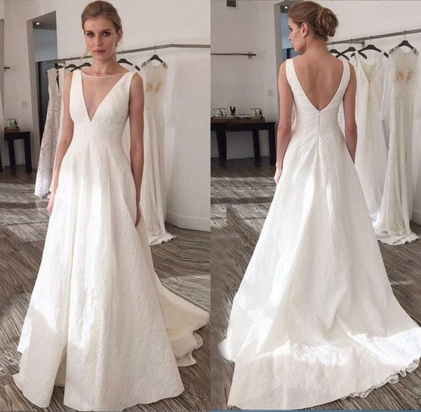 Discount Vintage Wedding Gowns 1950\u0027S Wedding Dresses With Sleeveless Sexy  Deep V Neck Ivory Summer Beach Bridal Gowns Royal Wedding Dresses Unusual