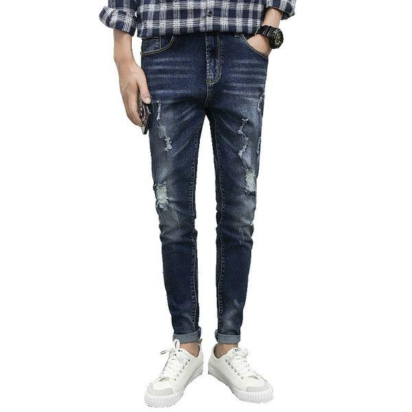 2018 spring Men's hole jeans new Korean version of the wild beggar Slim feet pants men fashion movement Free shipping