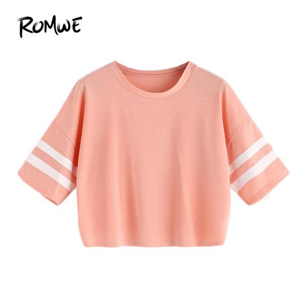 ROMWE Pink Varsity Striped Drop Shoulder Crop T-shirt Casual T-Shirts Mujeres 2018 Summer Short Sleeve Crop Tops