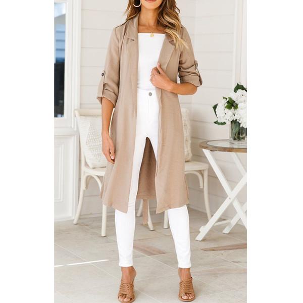 Fashion Women Ladies Open Front Trench Cardigan Jacket Long Sleeve Solid Solid Sashes Belt Overcoat Oversize Blazer