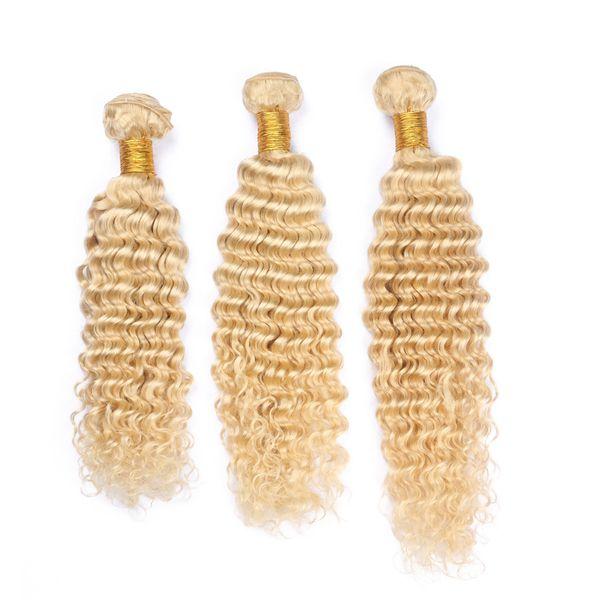 Russian Blonde Human Hair Weaves Extensions For Sale #613 Bleach Blonde Virgin Remy Human Hair Deep Wave Wavy 3 Bundles Double Wefts