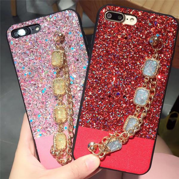 Shimmering Powder Rhinestone Bracelet Phone Case Bling Diamond Wristband Flickering Back Cover Wrist Strap Shell for iPhone X 6s 7 8 Plus