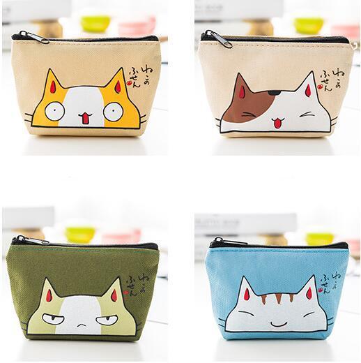 NEW emoji cat Coin purse canvas key holder wallet hasp small Christmas gifts bag clutch handbag free shipping