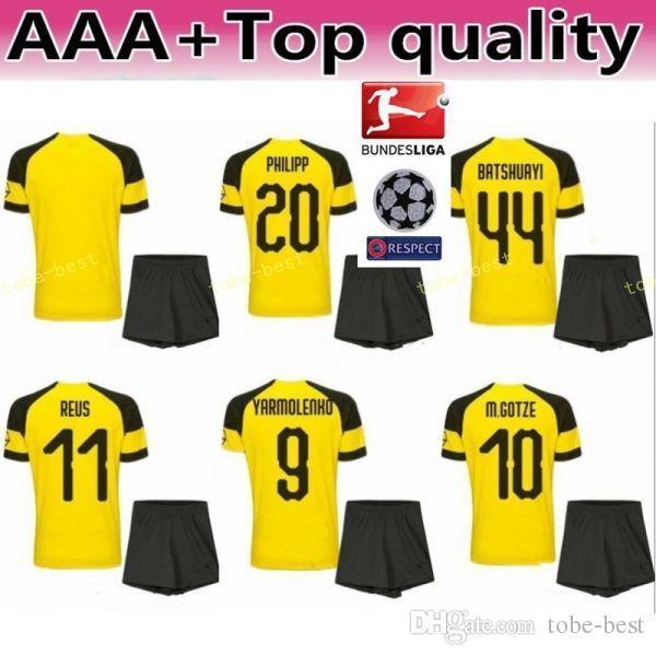 finest selection d1fc7 7ba51 2018 2018 2019 Bundesliga Soccer BVB 10 Mario Gotze Jersey Sets Men FC  Borussia Dortmund 11 Marco Reus 22 Christian Pulisic Football Shirt Kits  From ...