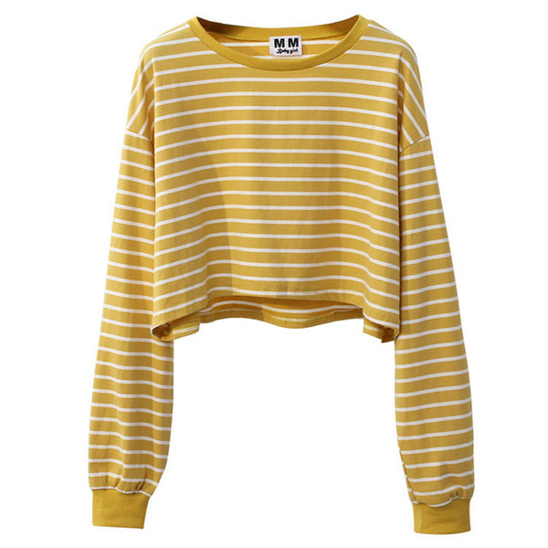 Korea Sweet Women Crop Top Harajuku Long Sleeve Striped Top T Shirt Girl  S  Autumn Loose T-Shirt Streetwear Female 82083bb78
