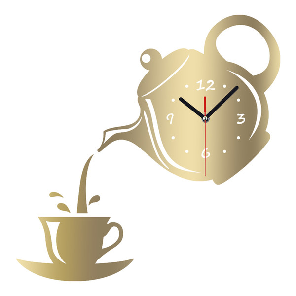 MEYA DIY 3D Wanduhr Acryl Kaffeetasse Teekanne Form Dekorative Küche Wanduhren Wohnzimmer Esszimmer Wohnkultur Uhr