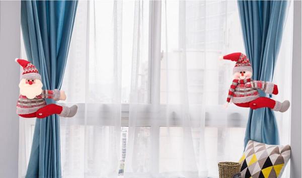 Noël Mignon Rideau Embrasse De Bande Dessinée Moelleux Père Noël Elk Forme Cravate Crochet Intérieur Décoration de La Maison Accessoires