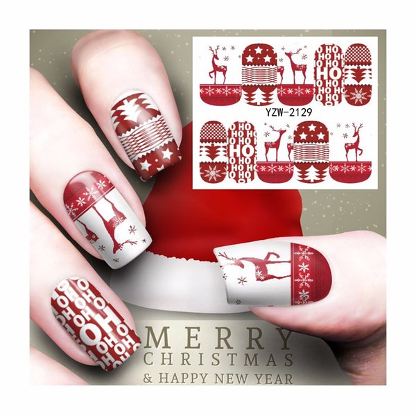 FWC Nail Art Water Tattoo Design Manicura Diseño de Navidad Water Transfer Calcomanías 2129