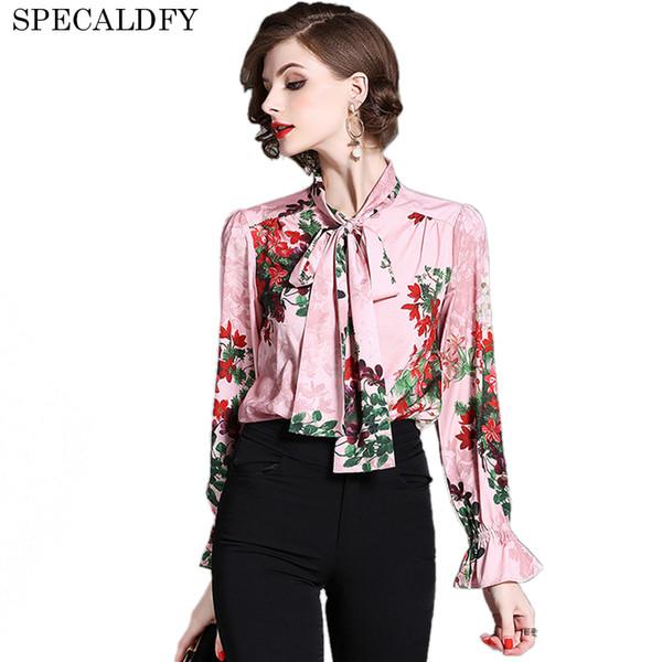 Runway Tops Designers 2018 Spring Women Flare Sleeve con estampado floral Elegant Blusa Luxury Vintage Blusas Brand Blusa Feminina