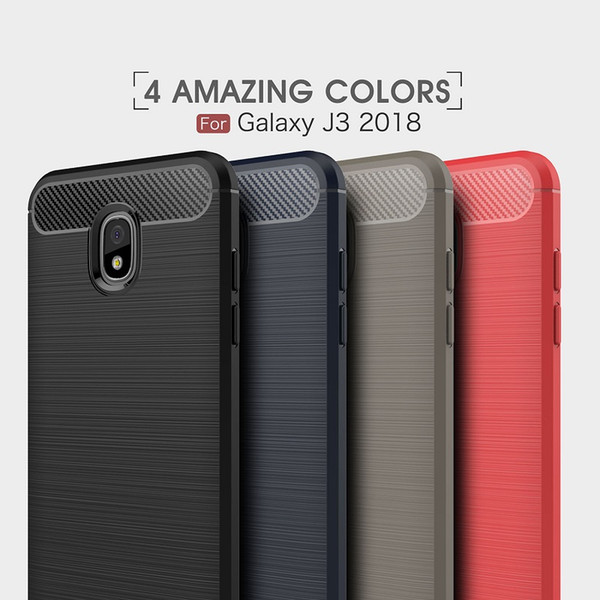 10PCS CellPhone Cases For Galaxy J3 2018 J4 J6 J7 2018 backcover Luxury Carbon Fiber case for J8 2018 cover Free shipping