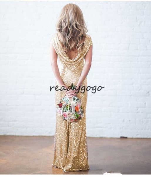 Modern Style Glitter Sequins Party Dresses Mermaid Formal Gowns Gold Sequin Short Sleeves Bridesmaid Long Bridesmaid Dresses