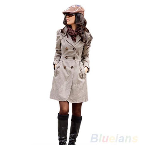 Großhandels- 2016 neue neue Art und Weise Frauen Slim Fit Graben Zweireiher Mantel Outwear